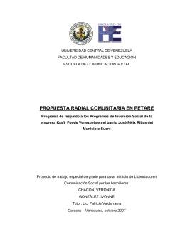 Propuesta Radial Comunitaria en Petare