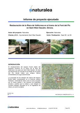 Restauración del arroyo de Vallicrosa en el tramo de la Fuente del