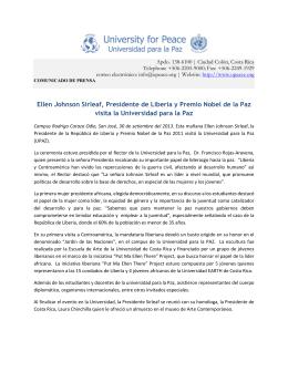 Ellen Johnson Sirleaf, Presidente de Liberia y Premio Nobel de la