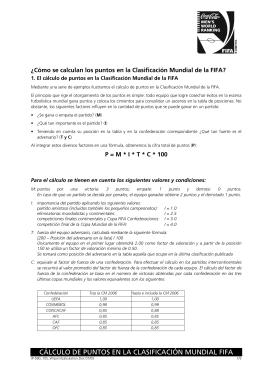CÁLCULO DE PUNTOS EN LA CLASIFICACIÓN