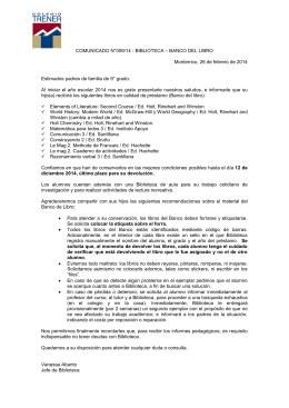 COMUNICADO N°009/14 - BIBLIOTECA – BANCO DEL LIBRO