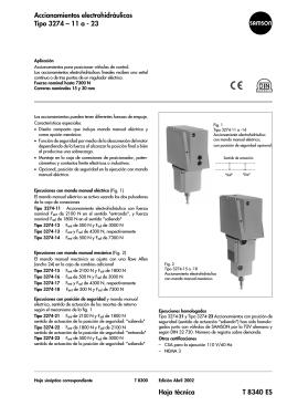 Hoja técnica T 8340 ES Accionamientos electrohidráulicos Tipo 3274