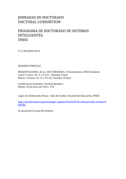 JORNADAS DE DOCTORADO DOCTORAL CONSORTIUM