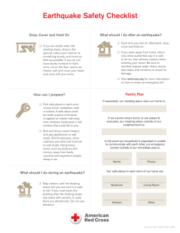 Earthquake Safety Checklist - Home Fire Preparedness Campaign