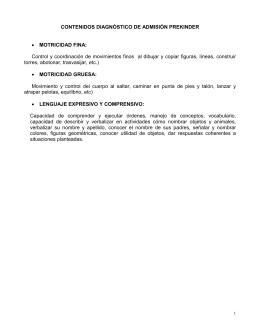CONTENIDOS DIAGNÓSTICO DE ADMISIÓN PREKINDER