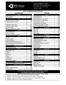 lista de precios alquiler 2015 iluminacion sonido