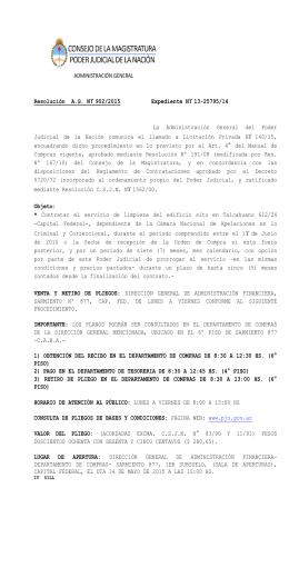 ADMINISTRACIÓN GENERAL Resolución A.G. N° 902/2015