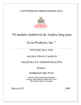 """El modelo multinivel de Andrea Jung para Avon Products, Inc.""."
