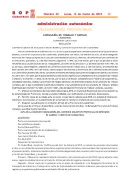 Calendario Laboral de 2010 para el sector de la Madera y Corcho