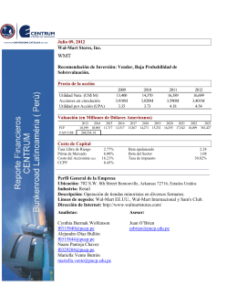Julio 09, 2012 Wal-Mart Stores, Inc. Recomendación de Inversión