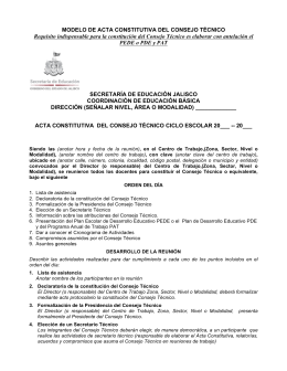 MODELO DE ACTA CONSTITUTIVA DEL CONSEJO TÉCNICO