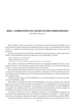 XXIX.- COMBUSTIÓN EN LECHO FLUIDO PRESURIZADO
