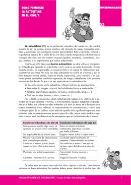 COMO FOMENTAR LA AUTOESTIMA EN EL NIÑO/A