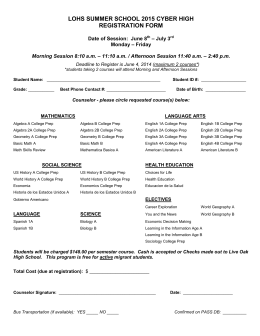 LOHS SUMMER SCHOOL 2015 CYBER HIGH REGISTRATION FORM