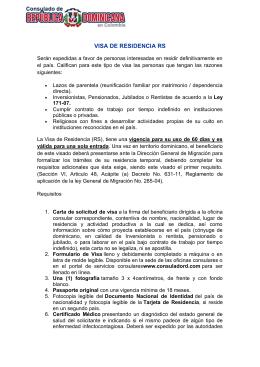 VISA DE RESIDENCIA RS