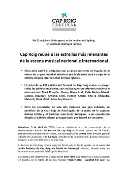Nota de Prensa - Festival de Cap Roig 2015