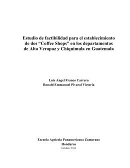 """Estudio de factibilidad para el establecimiento de dos """"Coffee Shops"""