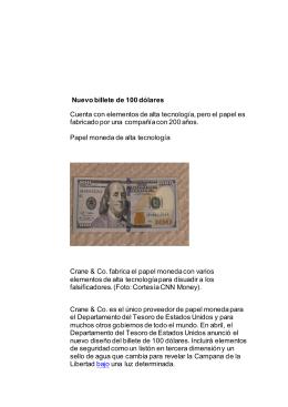 Nuevo billete de 100 dólares Cuenta con elementos de alta