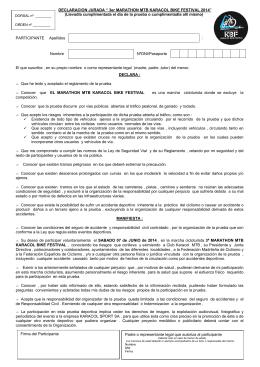 "DECLARACION JURADA "" 3er MARATHON MTB KARACOL BIKE"