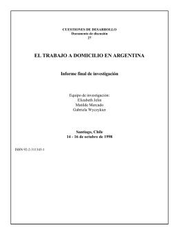 EL TRABAJO A DOMICILIO EN ARGENTINA