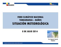 foro climático nacional tungurahua – baños situación meteorológica