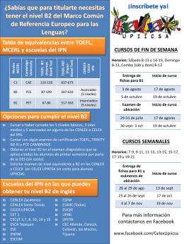Tabla de equivalencias entre TOEFL, MCERL y escuelas del IPN