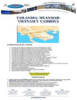 tailandia, myanmar, vietnam y camboya
