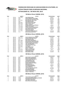 federacion mexicana de asociaciones de atletismo, ac listas finales