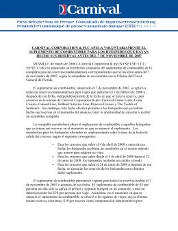 carnival corporation & plc anula voluntariamente el suplemento de