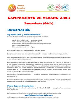CAMPAMENTO DE VERANO 2.013