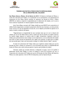 TENDRÁ SAN MATEO ATENCO EDAYO ESPECIALIZADA EN LA