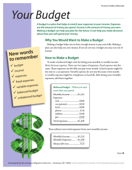 Your Budget - Geneseo Migrant Center