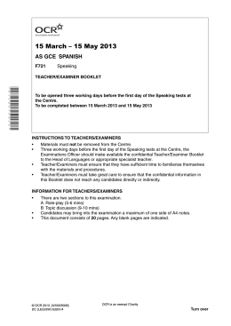 Unit F721/01 - Speaking - Teacher and examiner booklet