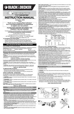 INSTRUCTION MANUAL - Black & Decker ServiceNet