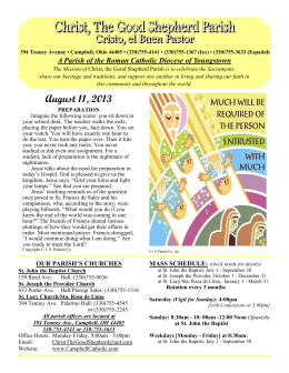 August 11, 2013 - Christ, the Good Shepherd Parish of Campbell, Ohio