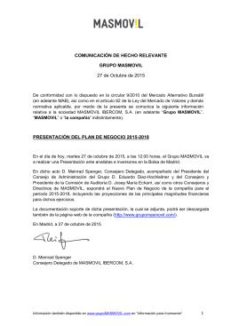 COMUNICACIÓN DE HECHO RELEVANTE GRUPO MASMOVIL 27
