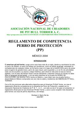 reglamento de competencia perro de protección (pp)