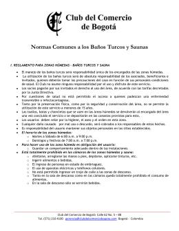 Normas Comunes a los Baños Turcos y Saunas