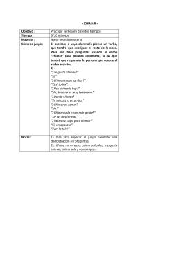 « CHIMAR » Objetivo : Practicar verbos en distintos tiempos Tiempo