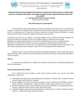 """""""Octava Reunión del Consejo Regional de Expertos de"""