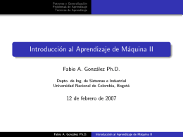 Introducción al Aprendizaje de Máquina II