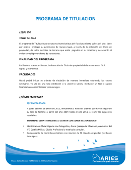 PROGRAMA DE TITULACION - Aries Grupo Inmobiliario