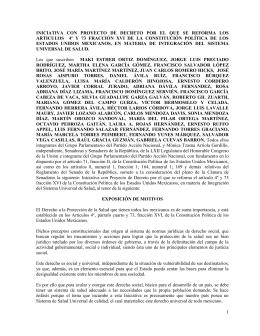 INICIATIVA CON PROYECTO DE DECRETO POR EL