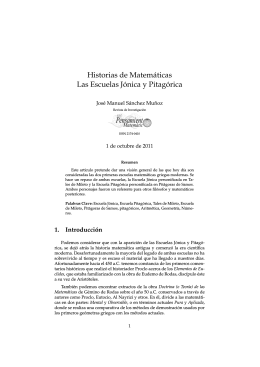 Historias de Matemáticas Las Escuelas Jónica y Pitagórica