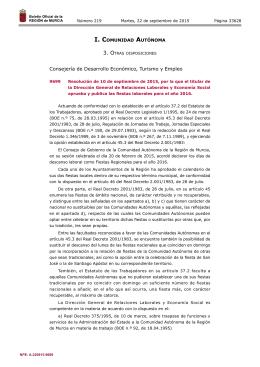 Resolución de 10 de septiembre de 2015