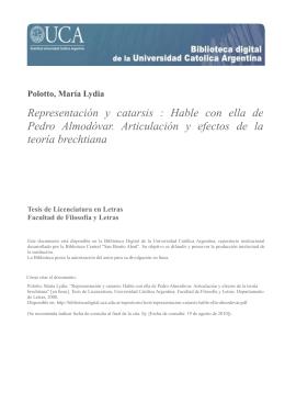 Representación y catarsis : Hable con ella de Pedro Almodóvar