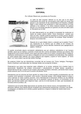 NÚMERO 1 EDITORIAL Por Alfredo Mantovani