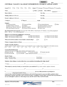 Central Valley Cal-SOAP Consortium Student Application
