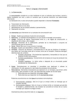 Tema 1: Lenguaje y Comunicación La