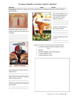 AP Lengua: Ortografía- Los acentos enfáticos y diacríticos
